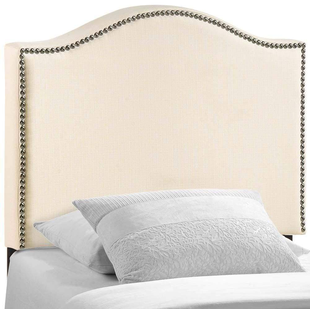 Ivory Curl Twin Nailhead Upholstered Headboard