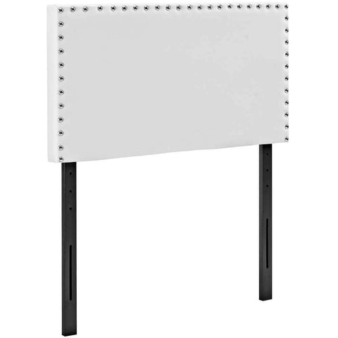 White Metal Accent Table with Frosted Tempered Glass
