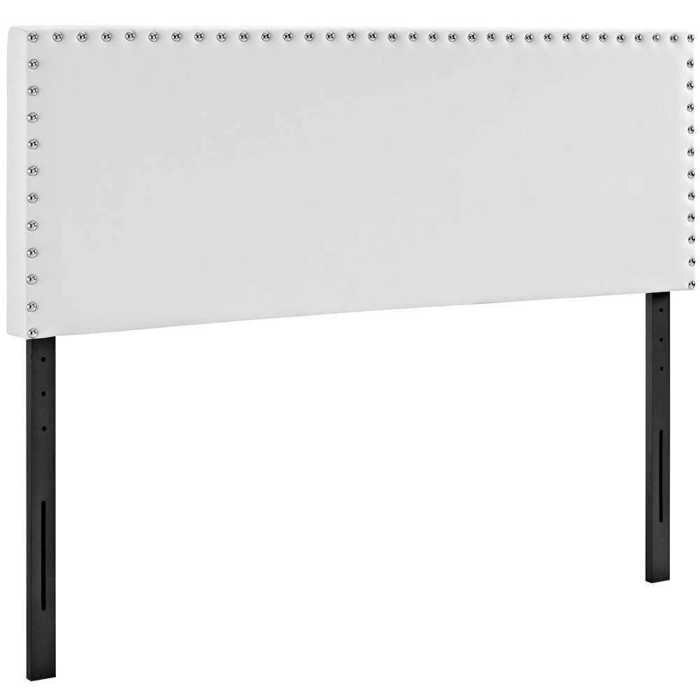 White Phoebe King Vinyl Headboard