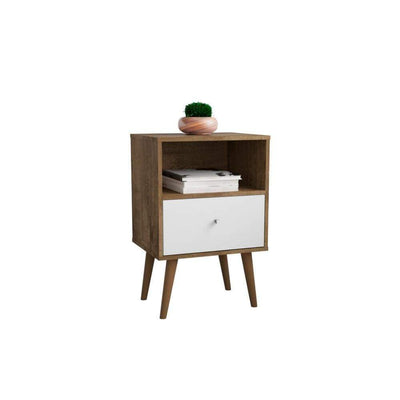 Liberty Mid Century - Modern Nightstand 1.0 with 1 Cubby Space and 1 Drawer, Rustic Brown and White