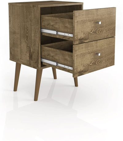 Liberty Mid Century - Modern Nightstand 2.0 with 2 Full Extension Drawers Rustic Brown MHC-204AMC9