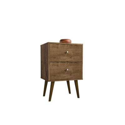 Liberty Mid Century - Modern Nightstand 2.0 with 2 Full Extension Drawers, Rustic Brown