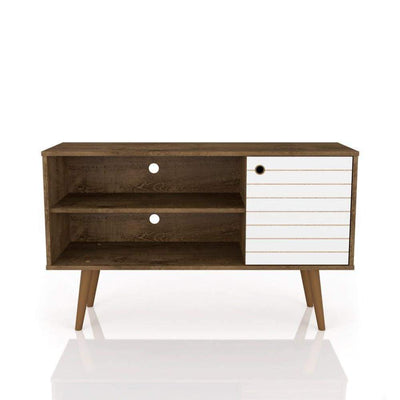 "Liberty 42.52"" Mid Century - Modern TV Stand with 2 Shelves and 1 Door, Rustic Brown and White"