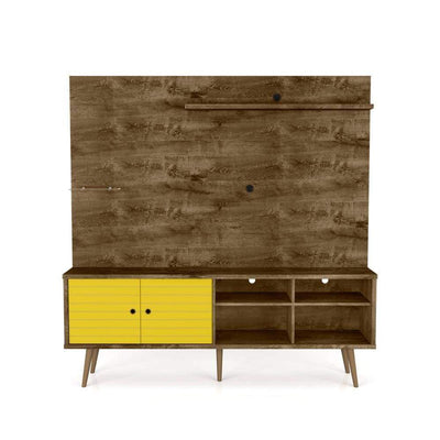 "Liberty 70.87"" Freestanding Entertainment Center with Overhead shelf, Rustic Brown and Yellow"