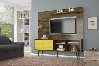 Liberty 70.87 Freestanding Entertainment Center with Overhead shelf Rustic Brown and Yellow MHC-214BMC94
