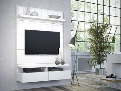 Cabrini 1.2 Floating Wall Theater Entertainment Center in White Gloss MHC-24952