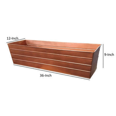 Rectangular Metal Flower Planter Box with Embossed Line Design Large Copper MIL-C-21C
