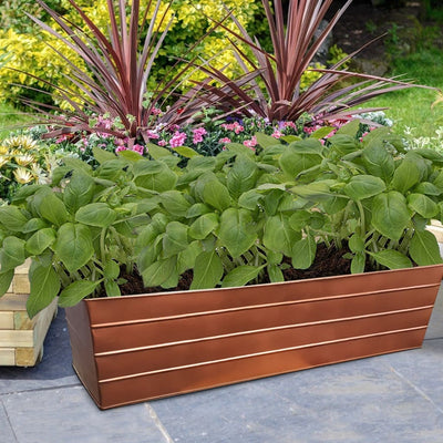 Rectangular Metal Flower Planter Box with Embossed Line Design, Large, Copper