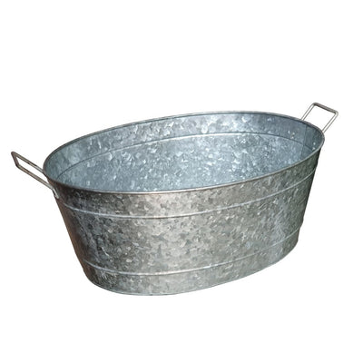Embossed Design Oval Shape Galvanized Steel Tub with Side Handles Small Silver By Casagear Home MIL-C-51