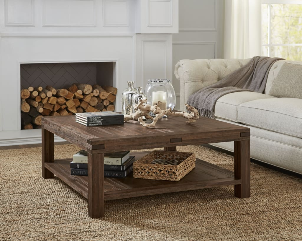Acacia Wood Coffee Table with Exposed Mortise and Tenon Corner Joints, Brown - 3F4121