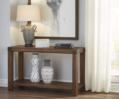 Rectangular Console Table with Tenon Corner Joints and Bottom Shelf , Brick Brown