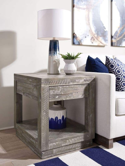 Acacia Wood End Table with One Drawer and One Shelf, Gray