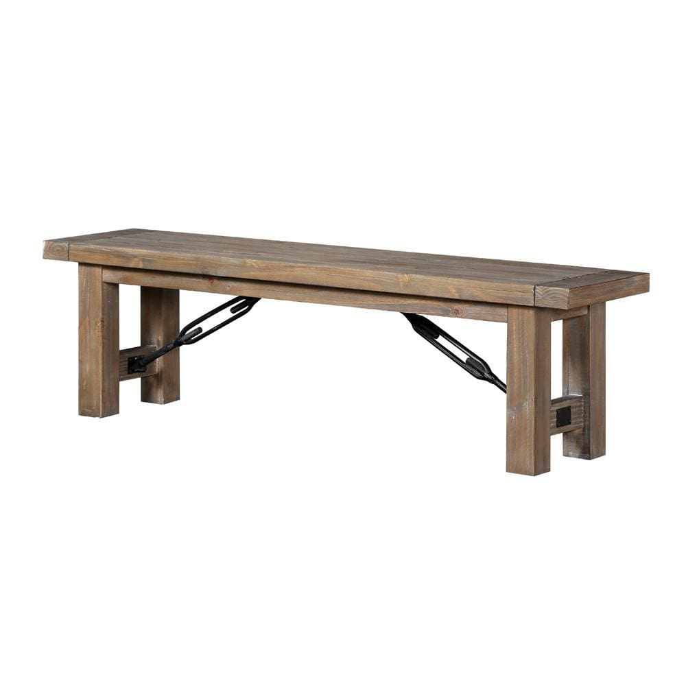 Acacia Wood Bench with Thick Block Legs, Brown - 8FJ865