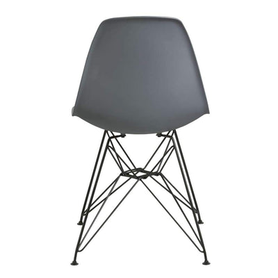Deep Back Plastic Chair with Metal Eiffel Style Legs Gray and Black MSF-9L6666R
