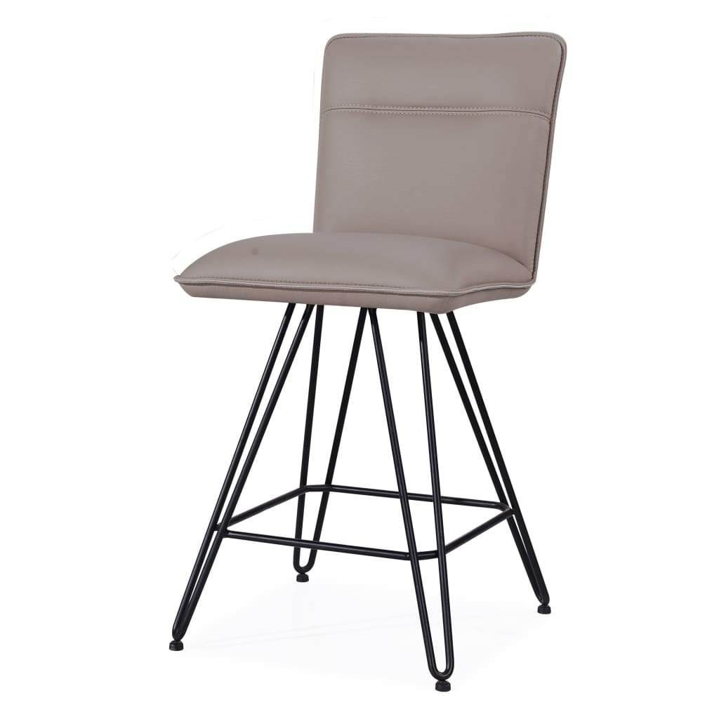 Leather Counter Height Stool with Metal Hairpin Legs, Set of 2, Taupe Brown and Black - 9LE270D