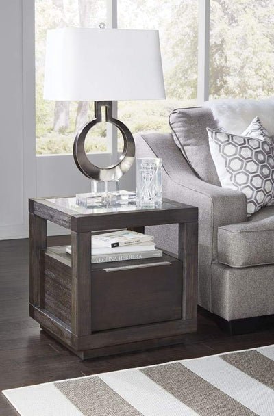 Acacia Wood End Table with Glass Insert Tabletop, Gray