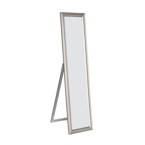 Elisabetta Full Length Standing Mirror with Decorative Design, Silver