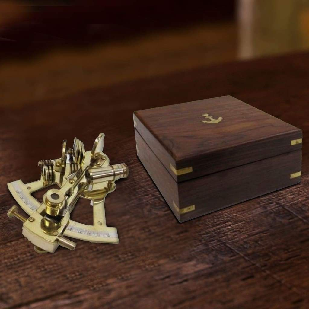 Nautical Brass Sextant With Anchor Inlaid Wooden Box, Brown and Gold
