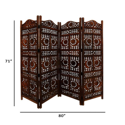 Hand Carved Sun And Moon Design Foldable 4-Panel Wooden Room Divider Brown- Benzara nau-sh15811
