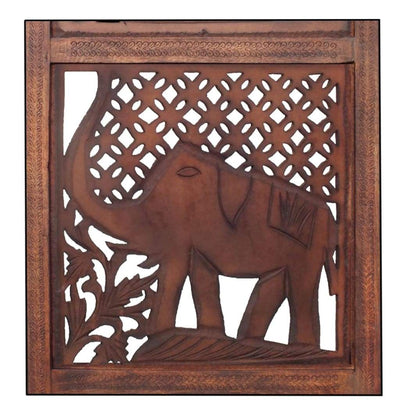 Hand Carved Elephant Design Foldable 4-Panel Wooden Room Divider Brown- Benzara NAU-SH1588
