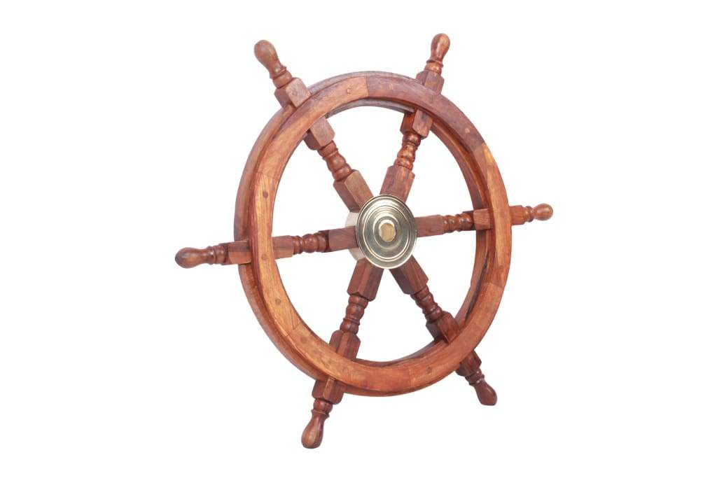 Nautical Sheesham Wood and Brass Decorative Ship Wheel, Brown  By Benzara