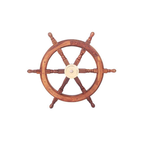 Benzara The Must Have Wood Brass Ship Wheel Hook