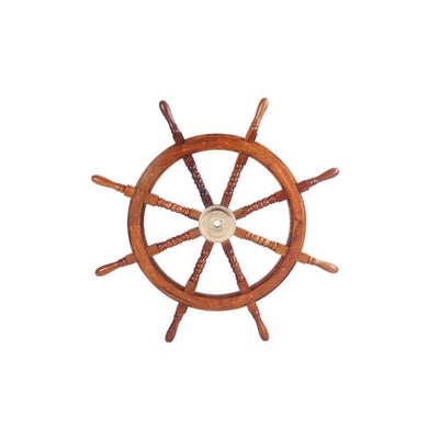 36 Teak Wood Ship Wheel with Brass Inset and Eight Spokes Brown and Gold NAU-SH8764