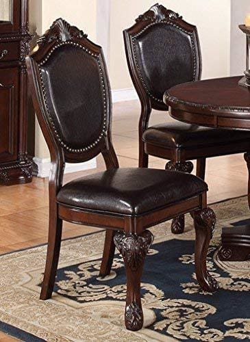 Traditional Rubber Wood Dining Chair With Faux Leather Upholstery , Set Of 2,Brown