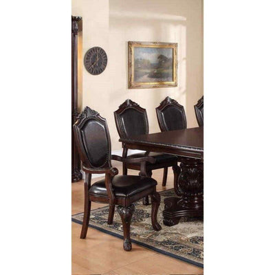 Traditional Rubber Wood Royal Arm Chair Set Of 2 Brown PDX-F1396