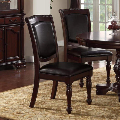 Set Of 2 Rubber Wood Traditional Dining Chair Dark Brown And Black PDX-F1729