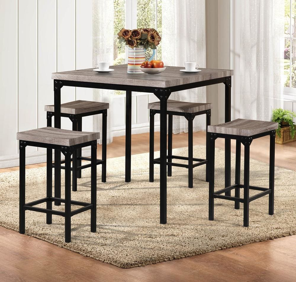 Counter Height 5 Pieces Dining Set In Brown And Black By Poundex