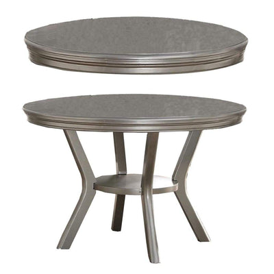 Rubber Wood Round Dining Table With Bottom Shelf Silver PDX-F2150