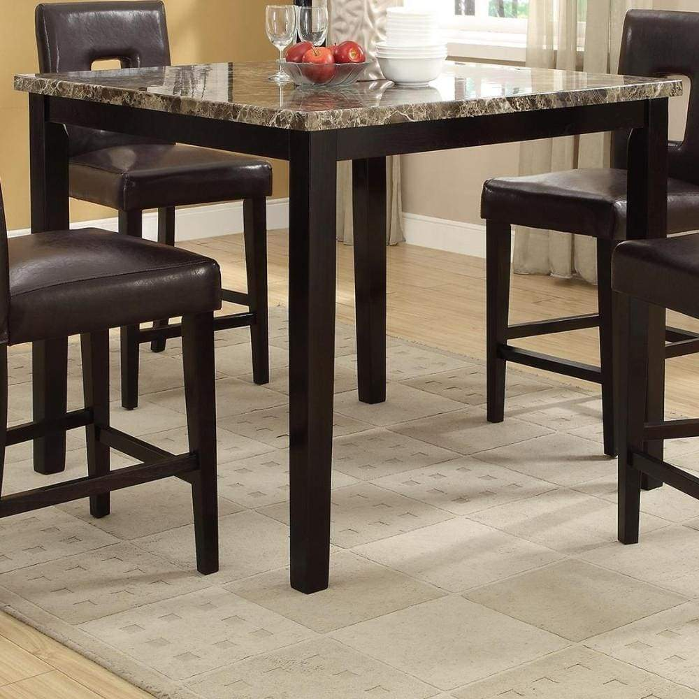 Spacious Wooden High Table Faux Marble Top Brown
