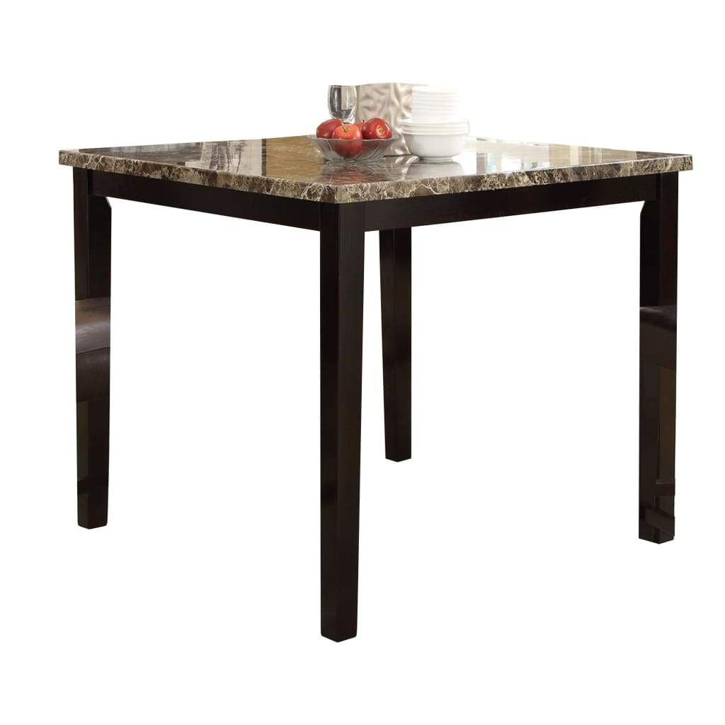 Beau Spacious Wooden High Table Faux Marble Top Brown ...