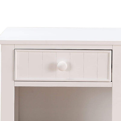 Wooden Night Stand With Bottom Open Shelf White PDX-F4238