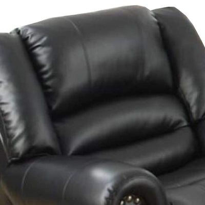 Immense Relief Bonded Leather & Plywood Recliner/Glider Black PDX-F6751