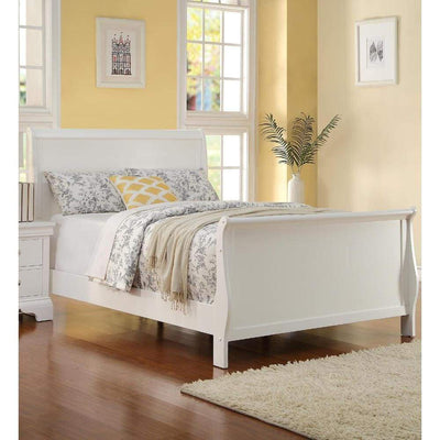 Full size Bed Wooden Finish, White