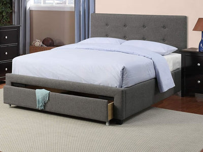 Upholstered Wooden Queen Bed With Button Tufted Headboard & Lower Storage Drawer Gray