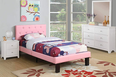 Faux Leather Upholstered Full size Bed With tufted Headboard Pink PDX-F9417F