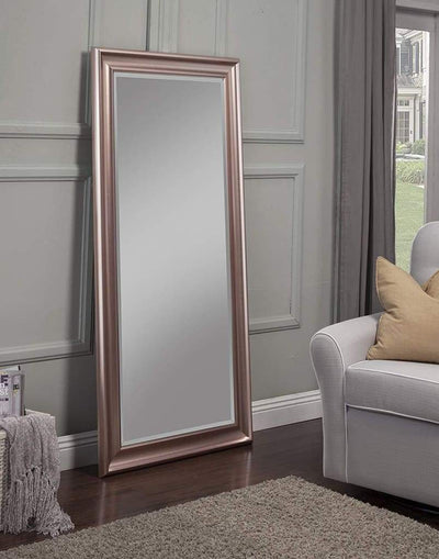 Full Length Leaner Mirror With a Rectangular Polystyrene Frame, Rose Gold