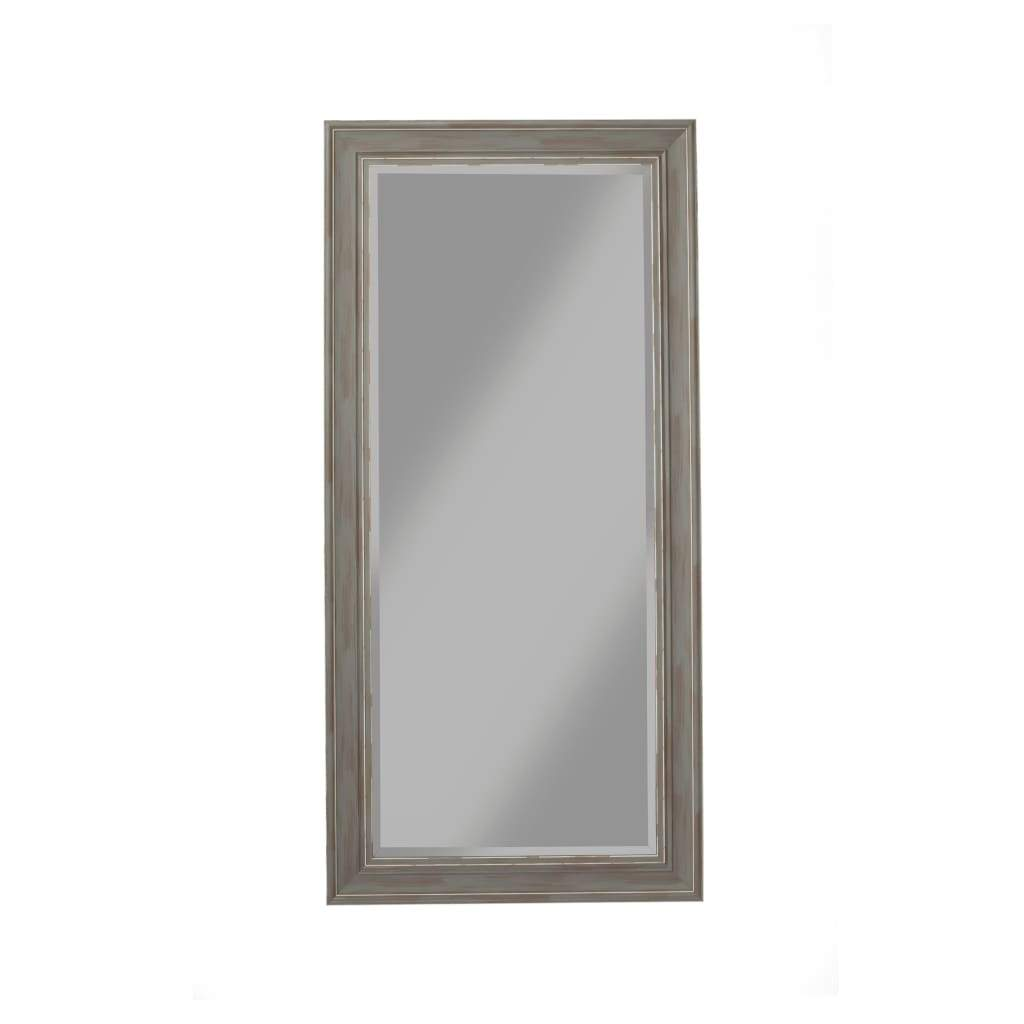 Farmhouse Style Full Length Leaner Mirror With Polystyrene Frame, Antique Gray