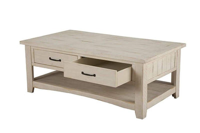 Wooden Coffee Table With Two Drawers Antique White SDF-890123