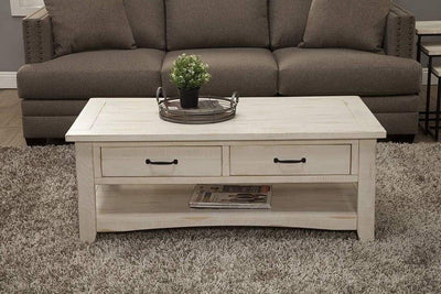 Wooden Coffee Table With Two Drawers, Antique White