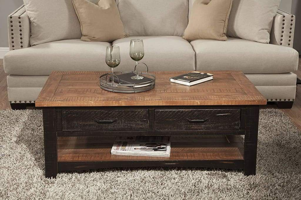 Dual Tone Wooden Coffee Table With Two Drawers, Antique Black and Honey Tobacco Brown