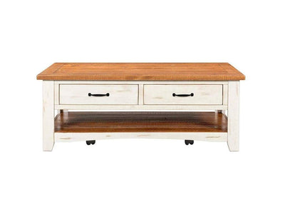 Dual Tone Wooden Coffee Table With Two Drawers Antique White and Honey Tobacco Brown SDF-890126