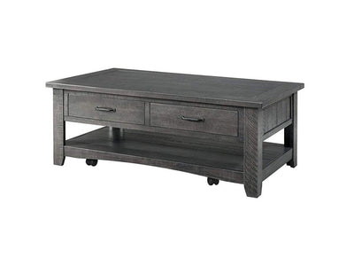 Wooden Coffee Table With Two Spacious Drawers, Gray
