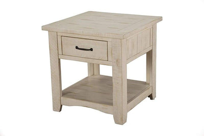Wooden End Table With 1 Drawer & 1 Shelf Antique White SDF-890133