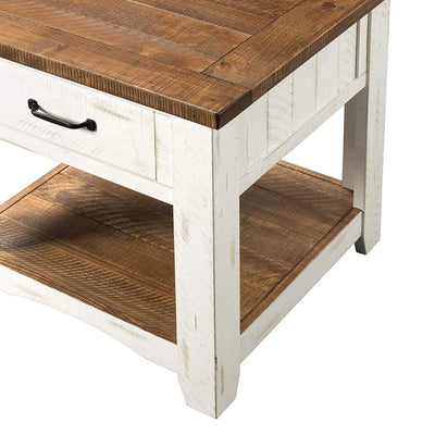 Dual Tone Wooden End Table With 1 Drawer & 1 Shelf White and Brown SDF-890136
