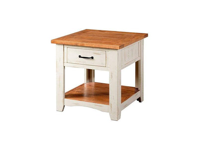 Dual Tone Wooden End Table With 1 Drawer & 1 Shelf, White and Brown