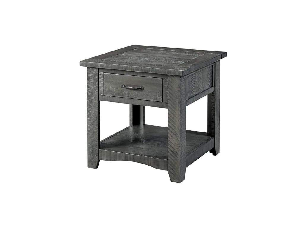 Wooden End Table With 1 Drawer & 1 Shelf, Gray